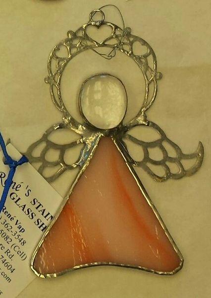 Angel ornament, salmon pink