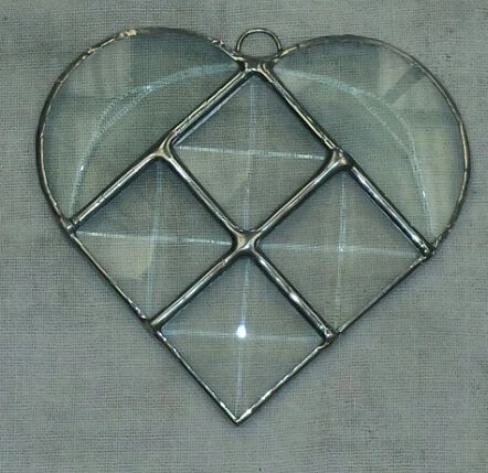 Mini beveled stained glass heart
