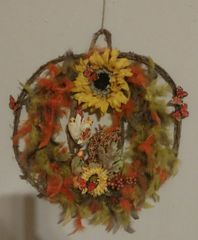 Sunflowers & Monarch Butterflies Pumpkin- shaped Wreath
