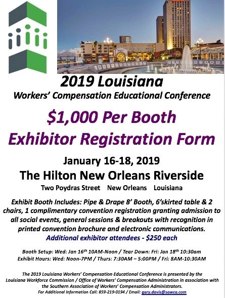 2019 Louisiana Exhibitor Booth Registration