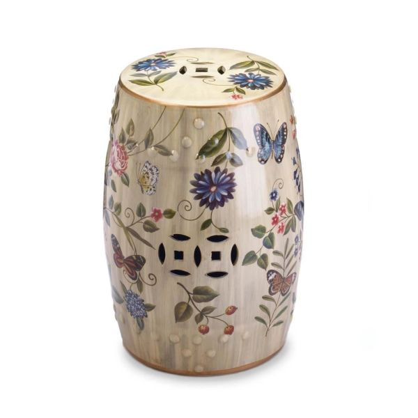 Butterfly Garden Ceramic Stool