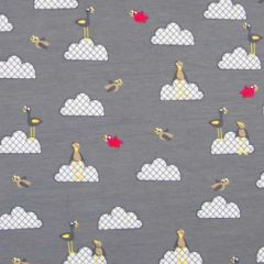 0.98 mtr Remnant - Funny Animals Mid Grey Jersey