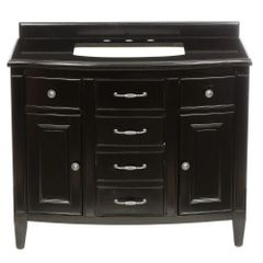 Belle Foret Daisy BF90222, 42 in. Vanity in Espresso with Granite Vanity Top in Black,