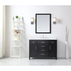 OVE Decors Tahoe 48 E OVE Tahoe 48 in. W x 21 in. D Vanity in Espresso with Quartz Vanity Top in White with White Basin and Mirror