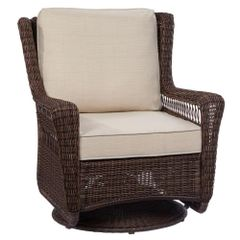 Hampton Bay 65-214544 Park Meadows Brown Swivel Rocking wicker Outdoor Lounge Chair with Beige Cushion