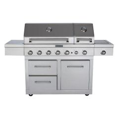 KitchenAid 720-0826, 6-Burner Dual Chamber Propane Gas Grill in Stainless Steel with Side Burner and Grill Cover