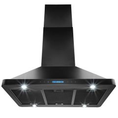 AKDY RH0322-RH0324 36 in. Kitchen Island Mount Range Hood in Stainless Steel Black Finish with Remote and Dual Side Touch Control