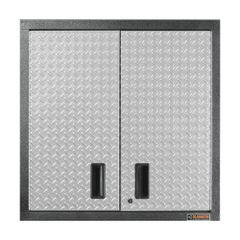 Gladiator GAWG302DRG Premier Series Pre-Assembled 30 in. H x 30 in. W x 12 in. D Steel 2-Door Garage Wall Cabinet in Silver Tread