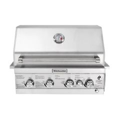 KitchenAid 740-0780, 4-Burner Built-in Propane Gas Island Grill Head in Stainless Steel with Rotisserie Burner