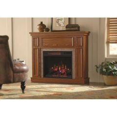 Home Decorators Collection 103003 Granville 43 in. Convertible Mantel Electric Fireplace in Oak with Faux Stone Surround