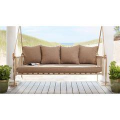 Hampton Bay GS00208B-4 Cane Patio Swing with Square Back Cushions