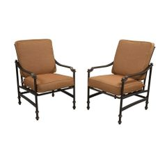 Hampton Bay S2-AHH01500 Niles Park Patio Lounge Chairs with Cashew Cushions (2-Pack)