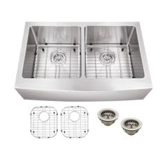 Schon SCAP505016 All-in-One Apron Front Stainless Steel 33 in. Double Bowl Kitchen Sink