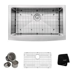 KRAUS KHF200-33 Farmhouse Apron Front Stainless Steel 33 in. Single Basin Kitchen Sink Kit