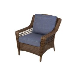 Hampton Bay 66-20301 Spring Haven Brown All-Weather Wicker Patio Lounge Chair with Sky Blue Cushions