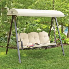 Hampton Bay GSS00132D Cunningham 3-Person Metal Outdoor Swing with canopy