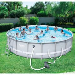 Bestway 56391E Power Steel Frame Pool Set, 18' x 18""