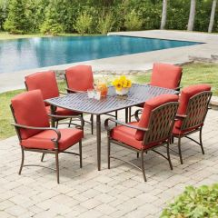 Hampton Bay 176-411-7D-V2 Oak Cliff 7-Piece Metal Outdoor Dining Set with Chili Cushions