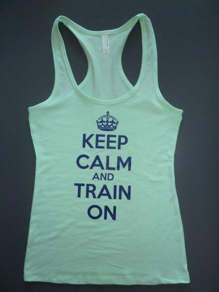 "Fitness ""Keep Calm and Train On"" Cotton/Poly/Spandex RazorbackTank"