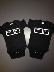 """Baby Twin Onesies """"Control Copy and Control Paste"""" Set"""