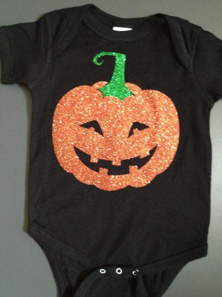 "Baby Onesie ""Halloween Jack-o-lantern"" Glitter Print"