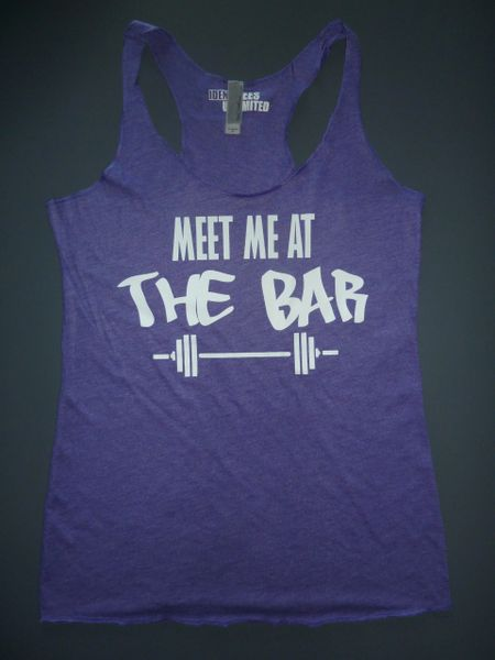 "Fitness ""Meet Me At The Bar"" Poly/Cotton/Rayon Tri-blend Racerback Tank"