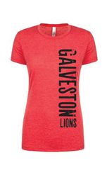 Galveston Ladies Fit red tee with side print