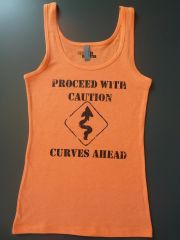"Fitness ""Proceed with Caution Curves Ahead"" Cotton/Poly/Spandex Tank"