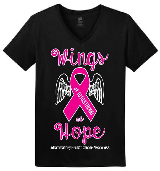 "#1010Strong ""Wings of Hope"" Ladies V-neck tee"