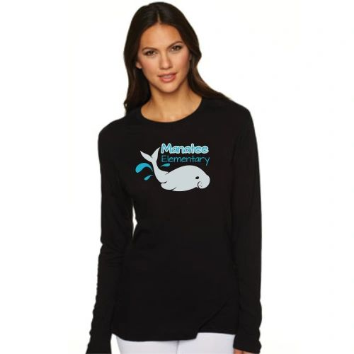 Manatee Long Sleeve Glitter, Junior Fit Tee