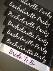 "Custom ""Bride To Be"" and ""Bachelorette Party"" Sash Pack"