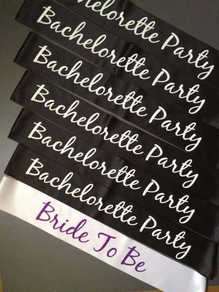 """Custom """"Bride To Be"""" and """"Bachelorette Party"""" Sash Pack"""