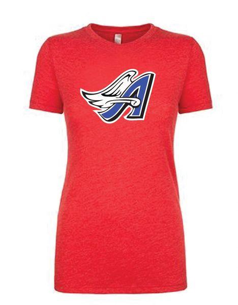 Angels Softball Ladies Tee with Full Logo