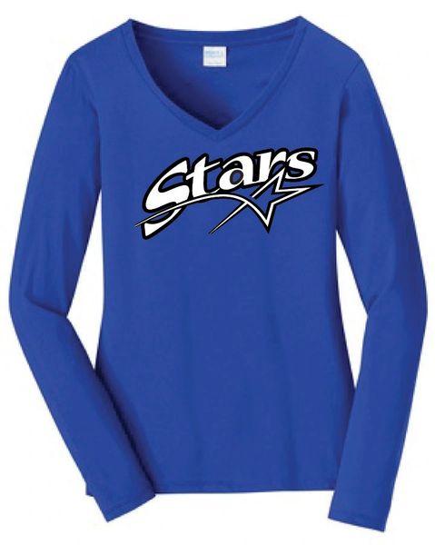 Stars Baseball Ladies Long Sleeve Tee Screen Print