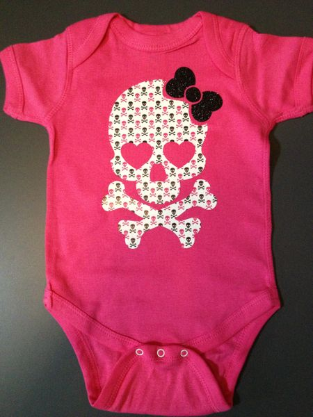 "Baby Onesie ""Girl Skull and Cross Bones"""