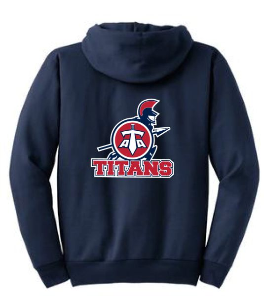 Titans Unisex Youth Zip Hoodie with Back Print