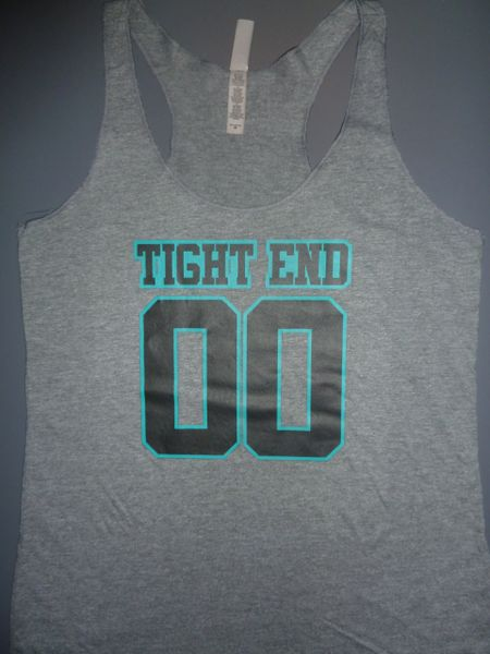"Fitness ""Tight End 00"" Poly/Cotton/Rayon Tri-blend Racerback Tank"