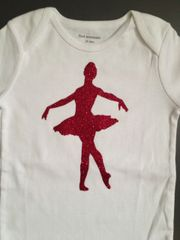 "Custom Baby Onsie ""Glitter Ballerina"" with name personalization"