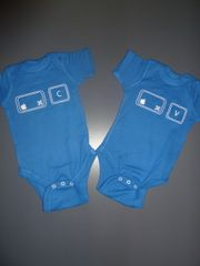 """Baby Twin Onesies """"Control Copy and Paste"""" Mac Version Set"""