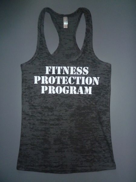 "Fitness ""Fitness Protection Program"" poly/cotton Burnout Racerback Tank"