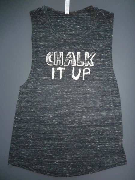"Fitness ""Chalk It Up"" Poly viscose Flowy Scoop Muscle Tank"