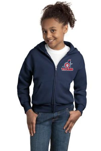 Titans Unisex Youth Embroidered Zip Hoodie