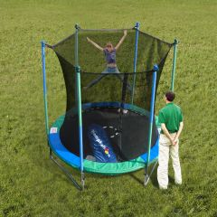 8' FOOT TRAMPOLINE & SAFETY NET ENCLOSURE COMBO,COMES WITH BALLOON MOTION ACTIVATED PUMP INFLATES BALLOONS WHILE YOUR CHILD JUMPS, 50 BALLOONS INCLUDED, 10 YR WARRANTY