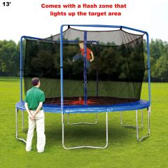 13' TRAMPOLINE & SAFETY NET ENCLOSURE COMBO, WITH REMOVABLE FLASH ZONE, 6 LEGS,10 YR WARRANTY