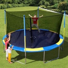 14' TRAMPOLINE & ENCLOSURE SAFETY NET COMBO, 6 LEGS ON BASE, 10 YR WARRANTY