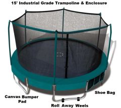 15' Foot Trampoline & Safety Enclosure Combo, Deluxe Industrial Grade Platinum Series,Roll-Away-Wheels