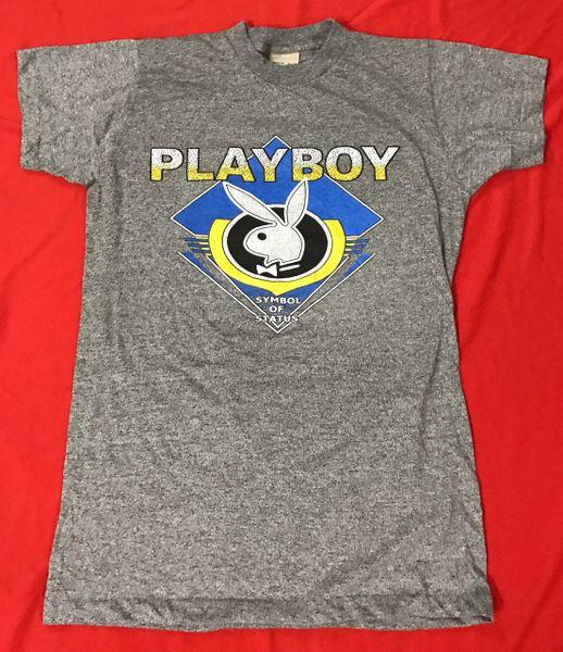 Vintage Playboy Symbol Of Status Original 80s Tri Blend T Shirt