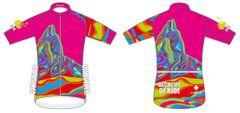 Neon Pink Black Tusk Ladies Full Zip short sleeve jersey. CLUB FIT.