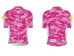 Ladies Full Zip Pink Camo short sleeve cycling jersey