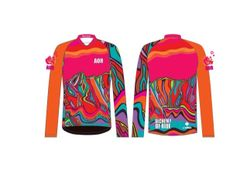 Neon Pink Armchair Ladies MTB Long Sleeve Cycling Jersey. .